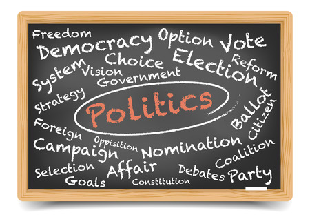 detailed illustration of a Politics wordcloud on a blackboard, gradient mesh included Vector