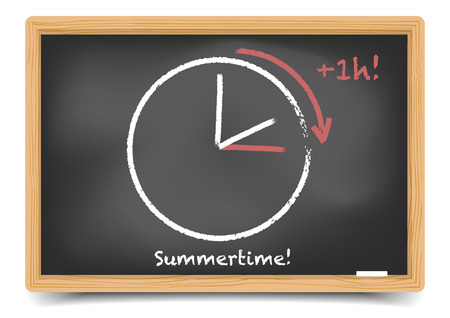 forward: detailed illustration of a blackboard with daylight saving clock for summertime, gradient mesh included