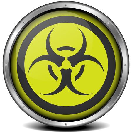 illustration of a metal framed biohazard icon Stock Vector - 26740051