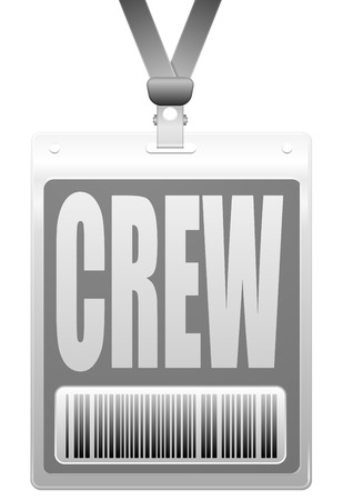 personalize: detailed illustration of a plastic crew badge with barcode