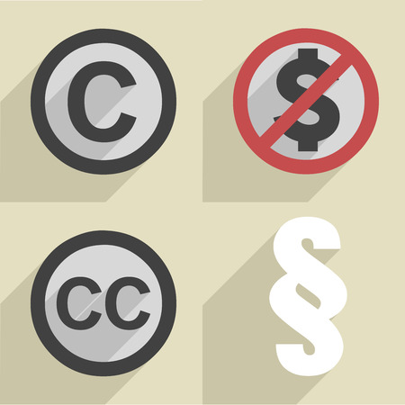 minimalistic illustration of a set of different copyright icons Vector