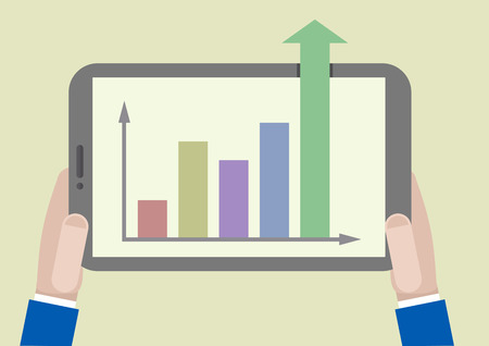 minimalistic illustration of a tablet computer with business growth chart going out of the screen Vector