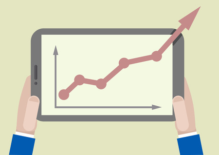 minimalistic illustration of a tablet computer with business growth graph going out of the screen Vector