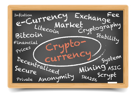 detailed illustration of a cryptocurrency wordcloud on a blackboard