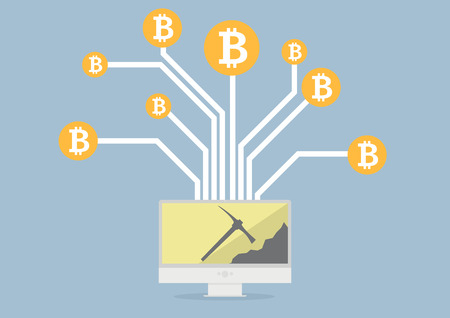currency: minimalistic illustration of a monitor displaying bitcoin mining