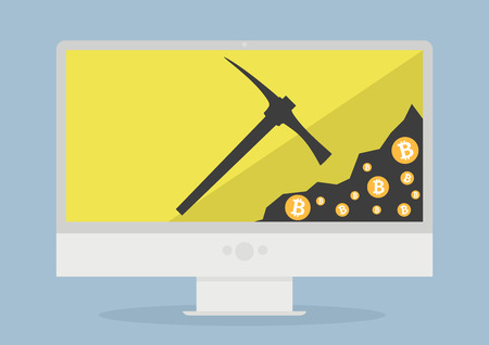 minimalistic illustration of a monitor displaying bitcoin mining