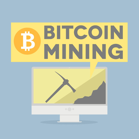 displaying: minimalistic illustration of a monitor displaying bitcoin mining  Illustration