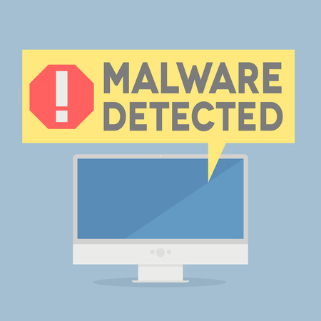 minimalistic illustration of a monitor with a malware alert speech bubble
