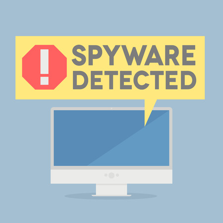 spyware: ilustraci�n minimalista de un monitor con un bocadillo de di�logo de alerta spyware