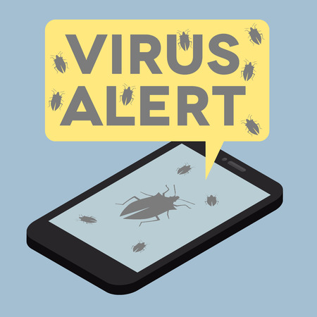 trojanhorse: minimalistic illustration of a monitor with a virus alert speech bubble
