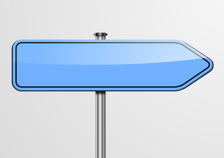 directional arrow: detailed illustration of an empty blue roadsign Illustration