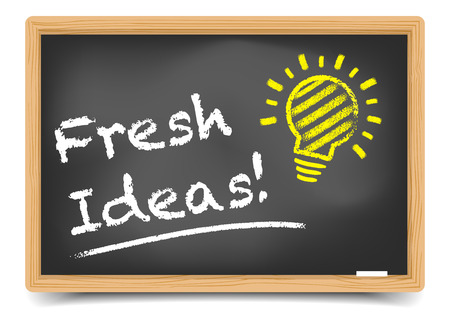 detailed illustration of a blackboard with 'fresh ideas'-writing on it, eps10 vector, gradient mesh included Vector