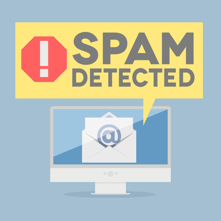 minimalistic illustration of a monitor with a spam alert speech bubble, eps10 vector Illustration
