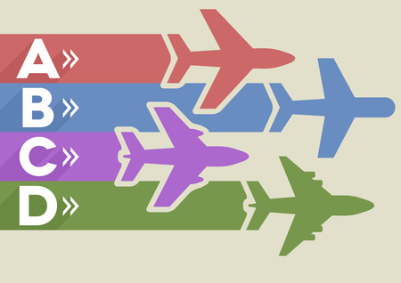 minimalistic illustration of an airplane infographic template, eps10 vector Vector