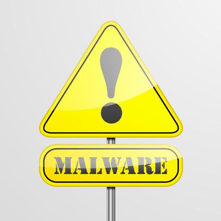 malware: detailed illustration of a malware warning roadsign, eps10 vector Illustration