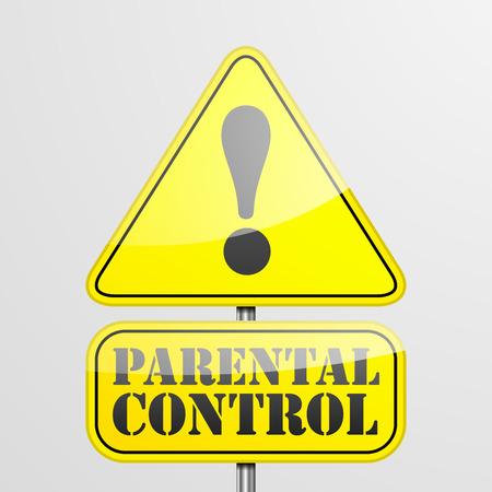 parental control: detailed illustration of a parental control warning roadsign, eps10 vector