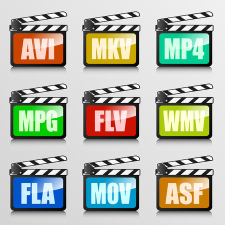 mpg: detailed illustration of a set of clapper boards with video codec extensions, eps10 vector Illustration