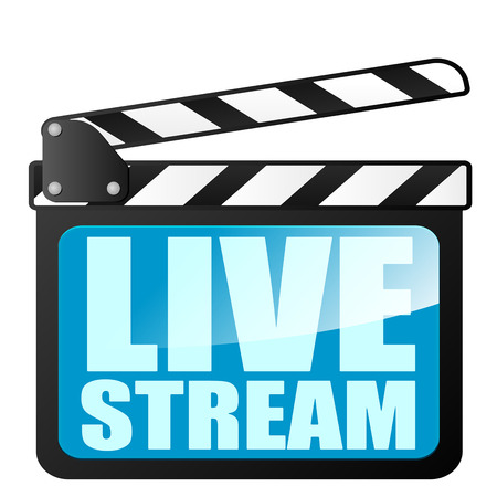 detailed illustration of a clapper board with Live Stream writing, eps10 vector