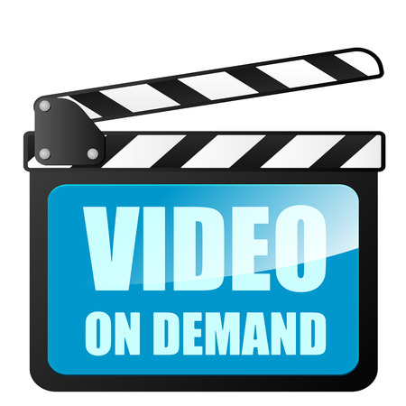 demand: detailed illustration of a clapper board with Video on Demand writing, eps10 vector