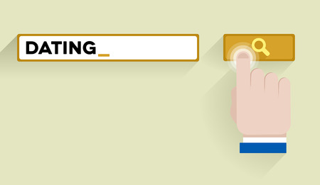 keyword: minimalistic illustration of a search bar with dating keyword and hand over the button, eps10 vector