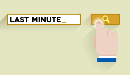 minimalistic illustration of a search bar with last minute keyword and hand over the button, eps10 vector Vector