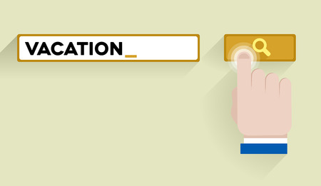 minimalistic illustration of a search bar with vacation keyword and hand over the button, eps10 vector Vector