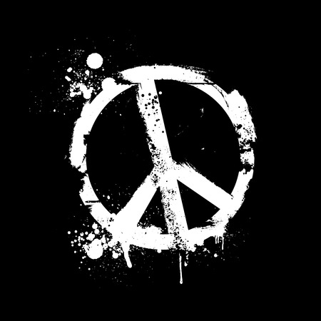 protest sign: detailed illustration of a grungy peace symbol, eps10 vector
