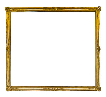 baroque picture frame: thin golden antique frame with ornaments isolated on white