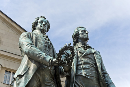 national poet: Monument of the famous writers Goethe and Schiller in Weimar, Germany