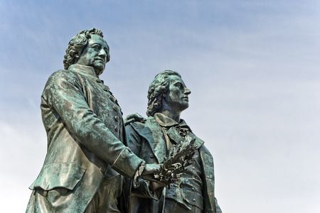 Monument of the famous german writers Goethe and Schiller in Weimar, Germany Stock Photo