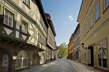 old street with traditional half-timbered houses in Nordhausen, Germany   photo