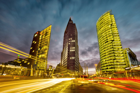 intersection in front of the Potsdamer Platz in the city center of Berlin, Germany Stock Photo