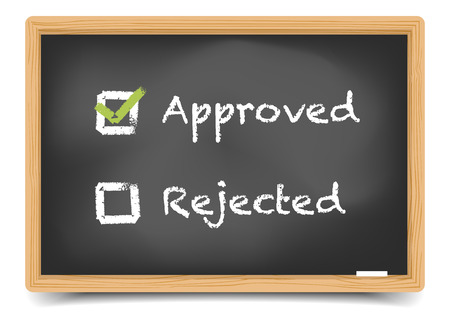 rejection: detailed illustration of checkboxes with approved and rejected options on a blackboard,  gradient mesh included