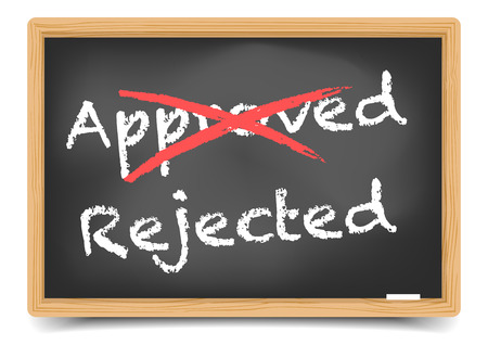 disapprove: detailed illustration of a crossed approved and  rejected writing on a blackboard, gradient mesh included Illustration