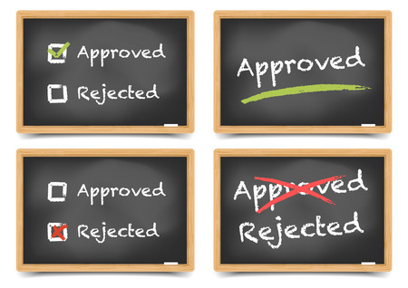 disapprove: detailed illustration of blackboards with approved and rejected options, gradient mesh included