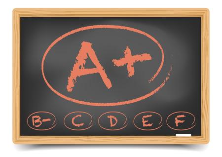 detailed illustration of a schoolgrades on a blackboard,  gradient mesh included Vector
