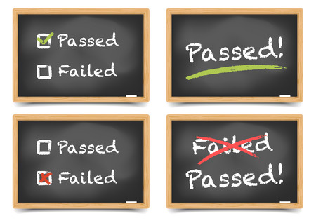 detailed illustration of blackboards with pass and fail options,  gradient mesh included