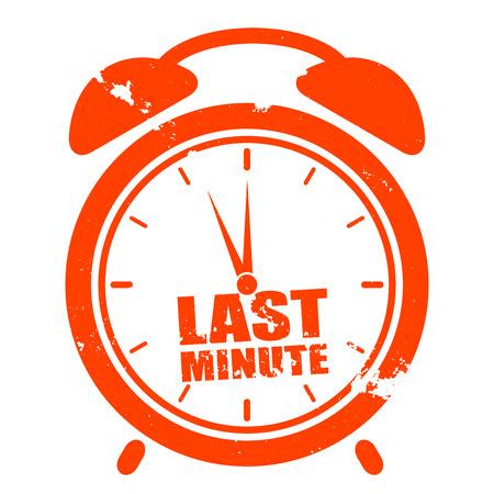"""agencia de viajes: ilustraci�n minimalista de un reloj sucio con el texto """"�ltimo minuto"""" Vectores"""