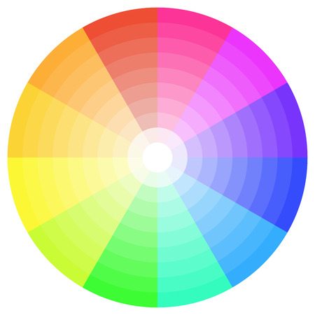 colour wheel: detailed illustration of a ten step color wheel
