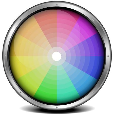 chromatique: illustration d'une roue de couleur � ossature m�tallique, filet de d�grad� inclus Illustration