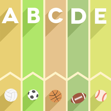 minimalistic illustration of a sports themed infographic with letters and sports symbols Vector