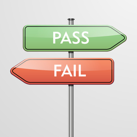 validated: detailed illustration of a roadsign with pass and fail pointers showing in different directions
