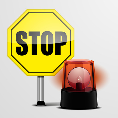 emergency light: detailed illustration of a yellow stop sign with a red emergency flashing light