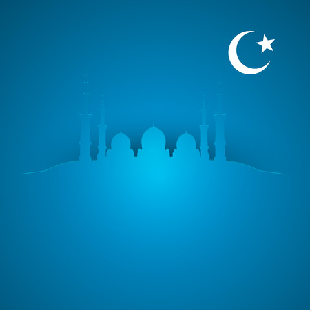 mosque illustration: detailed illustration of a blue religious background with mosque and crescent moon