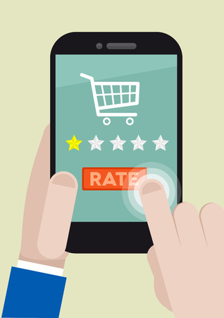 minimalistic illustration of a shopping rating system on a mobile phone Vector