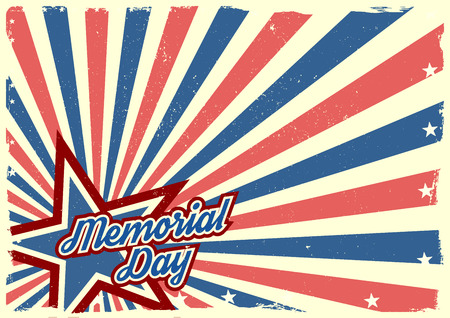 detailed illustration of a grungy stars and stripes backbround with Memorial Day text Vector