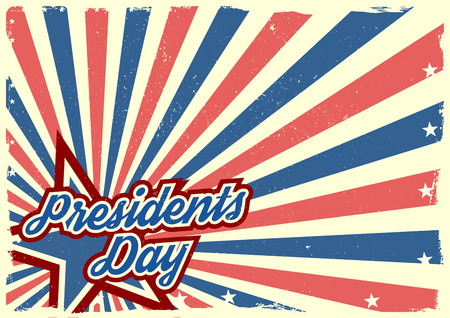 detailed illustration of a grungy stars and stripes backbround with Presidents Day text Vector