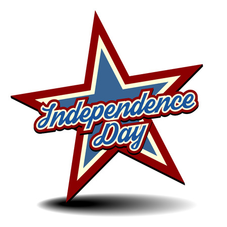 detailed illustration of a patriotic star with Independence Day text Vector