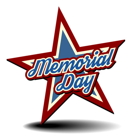 detailed illustration of a patriotic star with Memorial Day text Vector