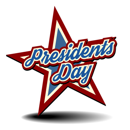 presidents day: detailed illustration of a patriotic star with Presidents Day text